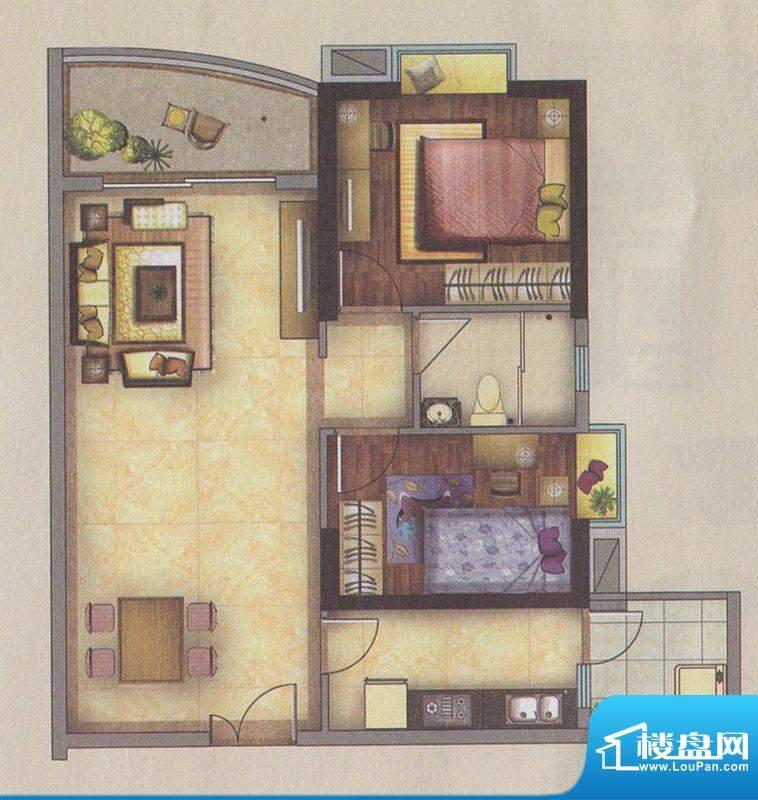 新一城广场G06户型图面积:85.67平米