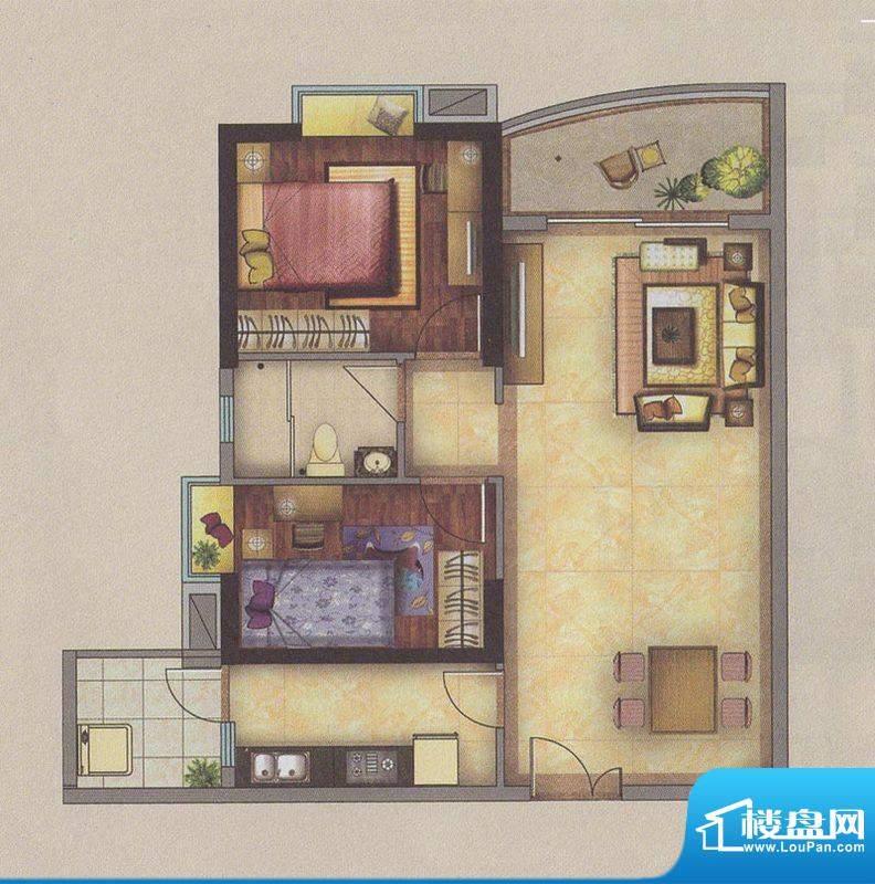 新一城广场G07户型图面积:85.68平米