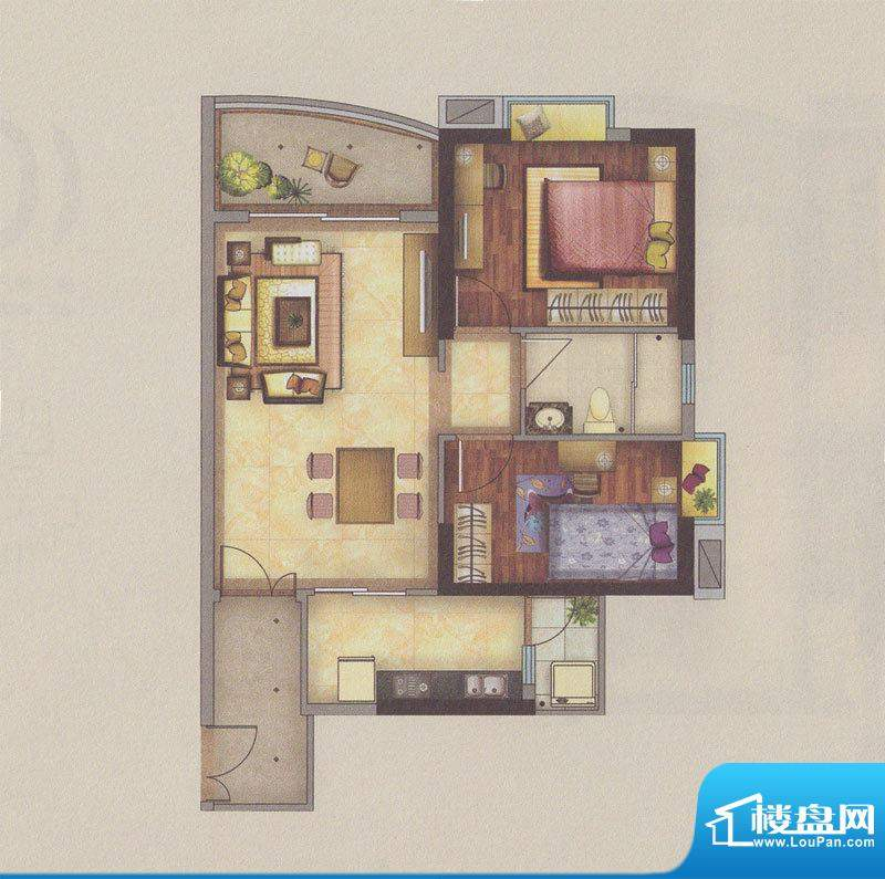 新一城广场G08户型图面积:81.45平米
