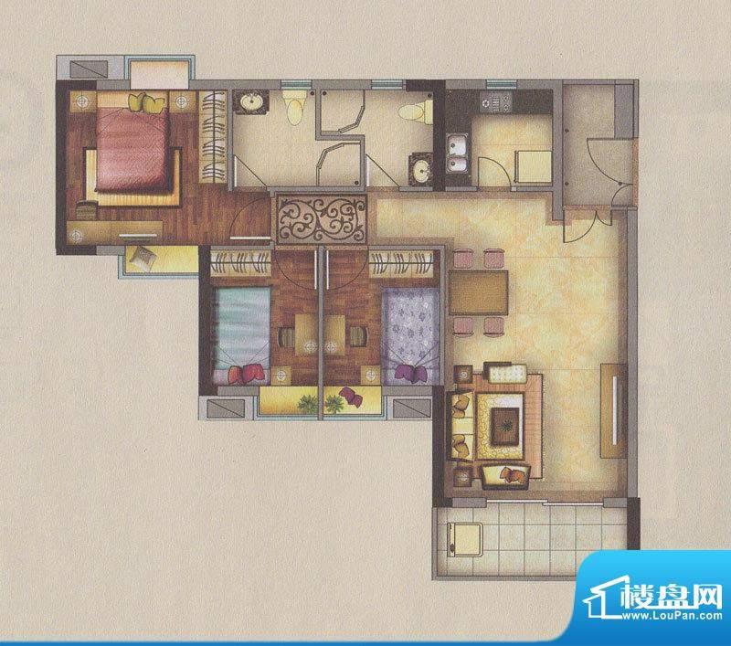 新一城广场G04户型图面积:97.16平米