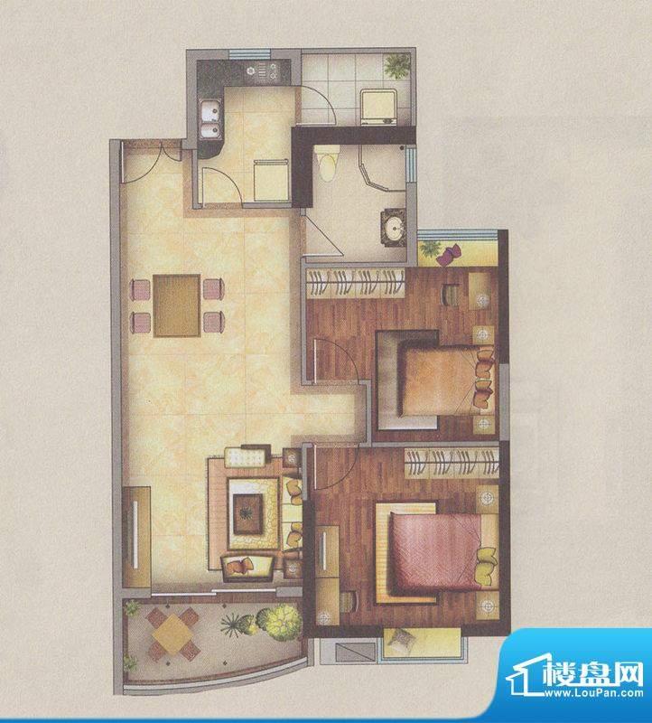 新一城广场G01户型图面积:92.35平米