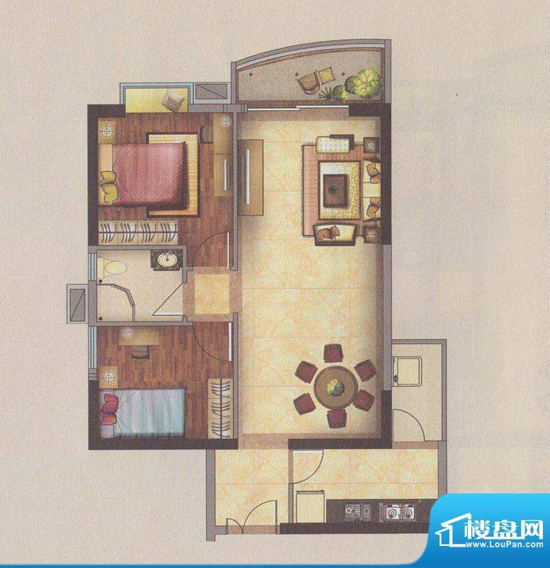 新一城广场H04户型图面积:91.65平米