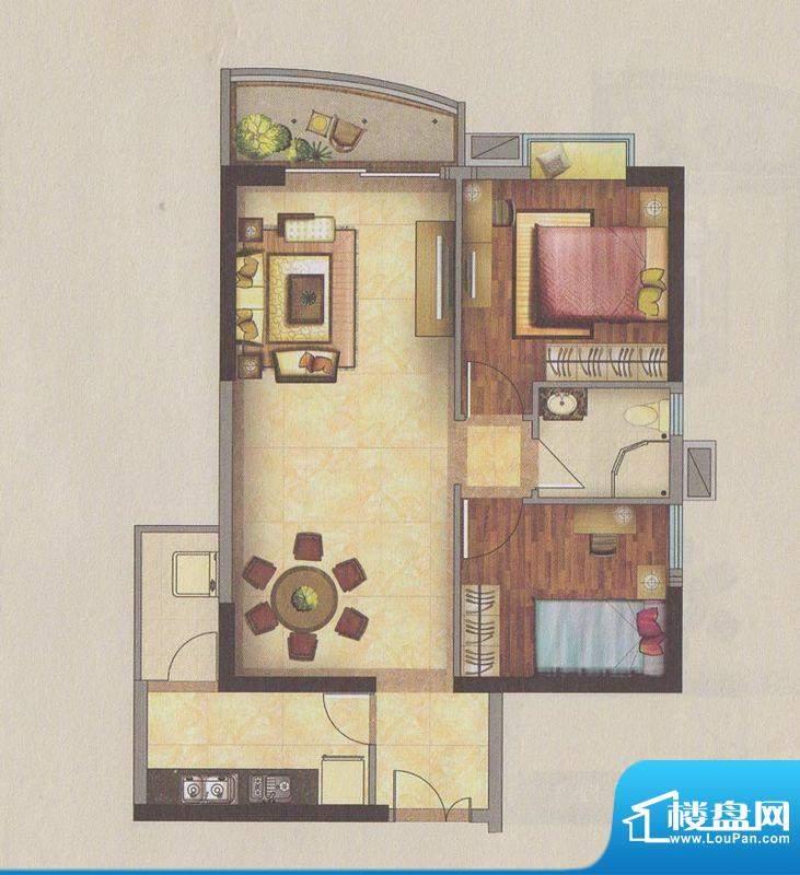 新一城广场H05户型图面积:91.74平米