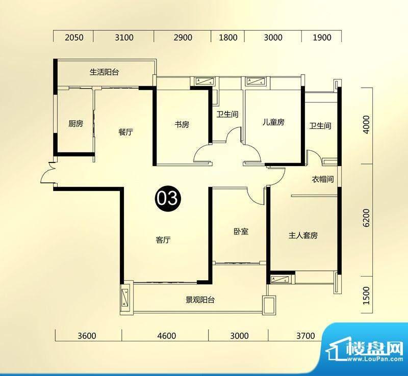 保利东江首府A5栋环面积:169.00平米