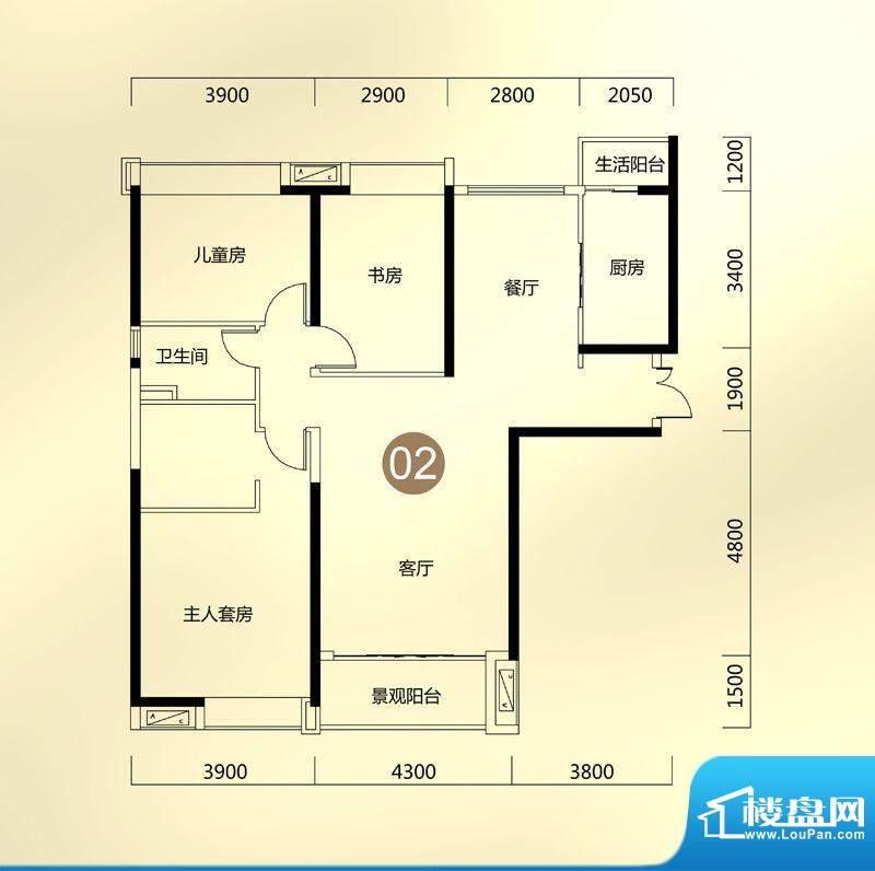 保利东江首府A5栋环面积:134.00平米