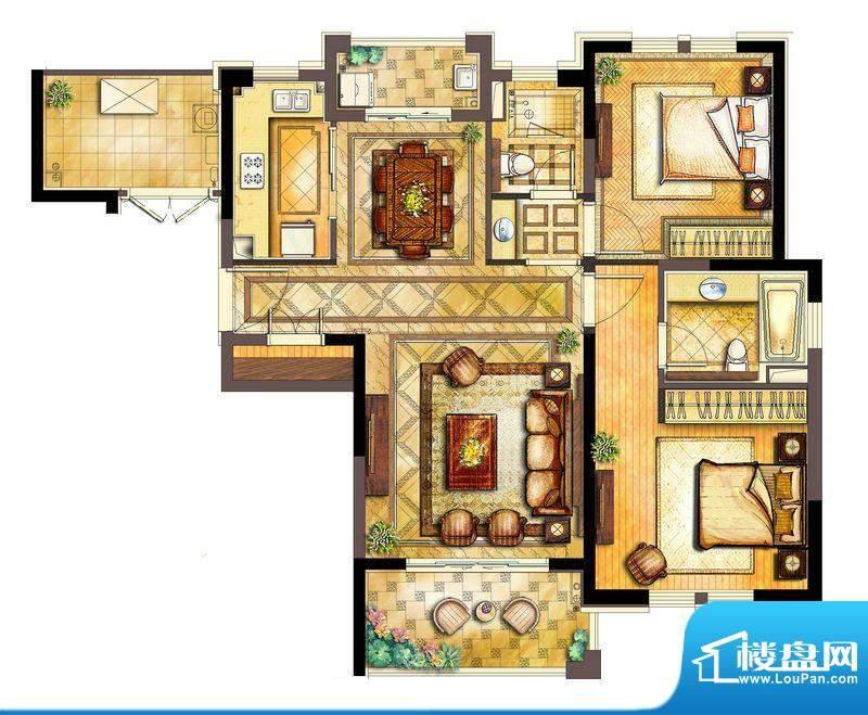 古北御庭D3户型 2室面积:106.00平米
