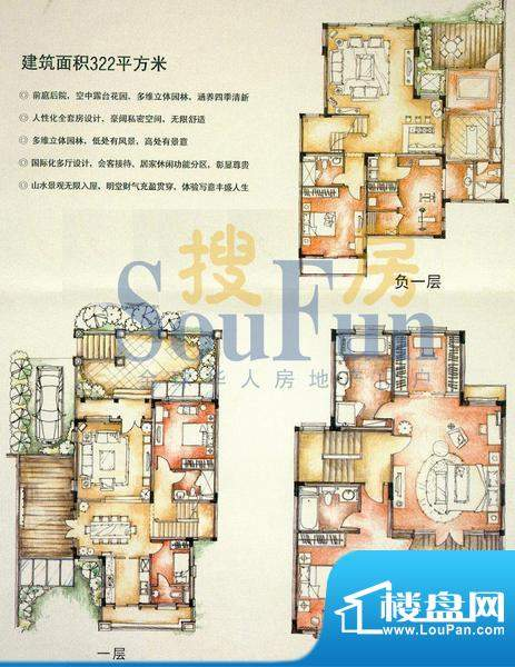 珠江国际城 7室 B户面积:322.00平米