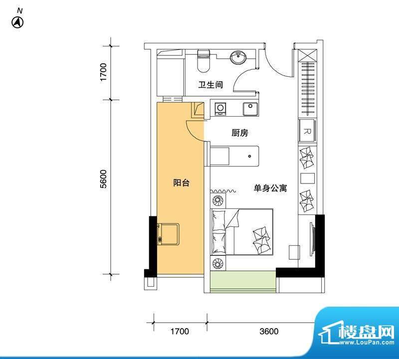 都市品格(福基苑)面积:44.76平米