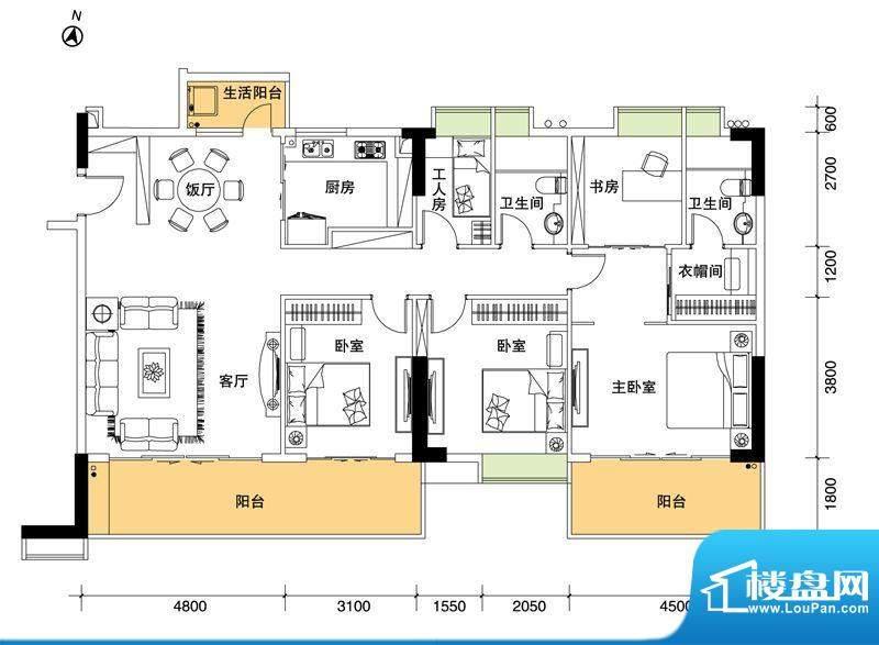 都市品格(福基苑)面积:181.74平米