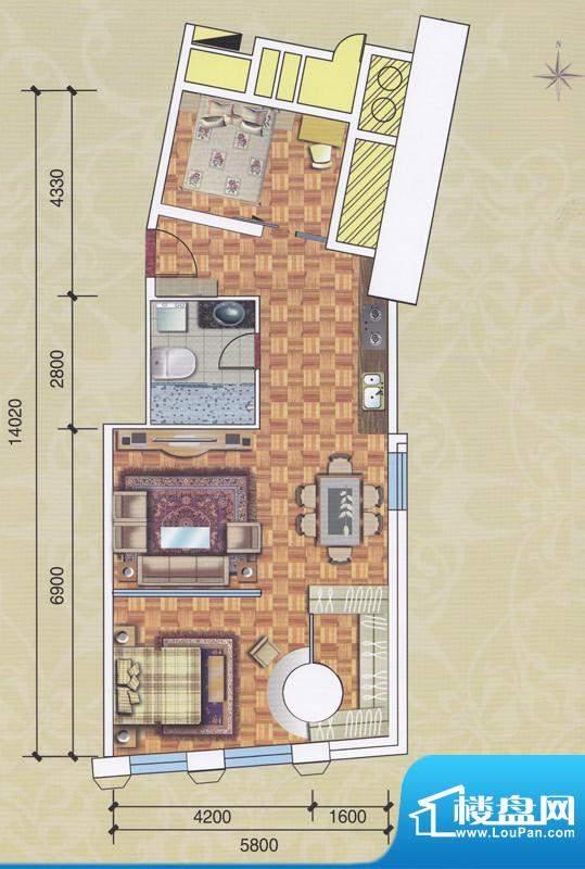 正佳东方国际公寓13面积:118.00平米