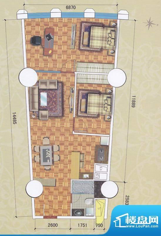 正佳东方国际公寓13面积:136.41平米