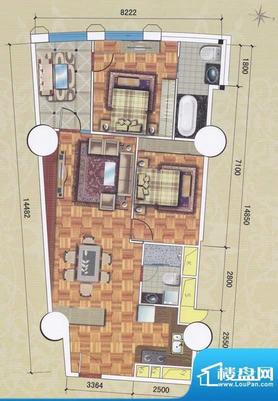 正佳东方国际公寓13面积:157.01平米