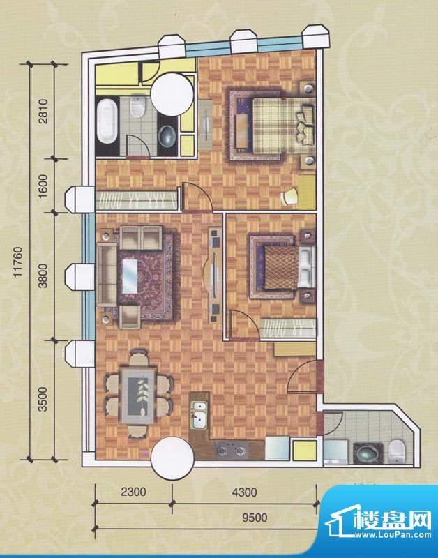正佳东方国际公寓13面积:134.66平米