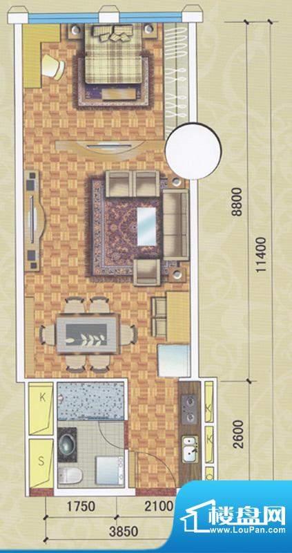 正佳东方国际公寓13面积:66.30平米