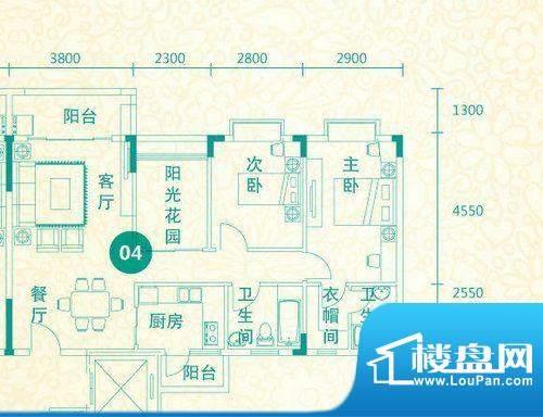 翡翠城14-17栋04户型面积:100.15平米