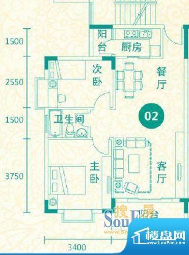 翡翠城14-17栋02户型面积:81.35平米