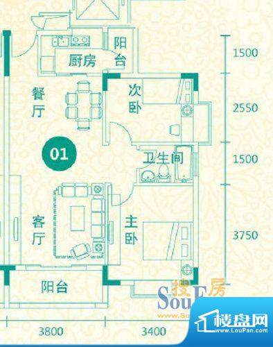 翡翠城14-17栋01户型面积:82.04平米