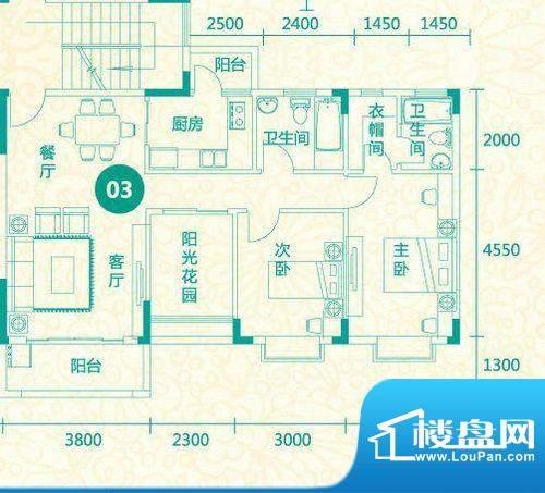翡翠城13栋03户型 3面积:100.38平米