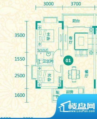 翡翠城12栋01户型 2面积:84.69平米