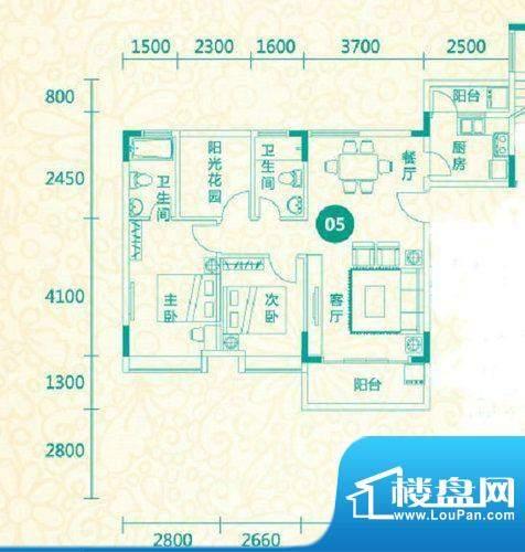 翡翠城12栋05户型 3面积:95.01平米