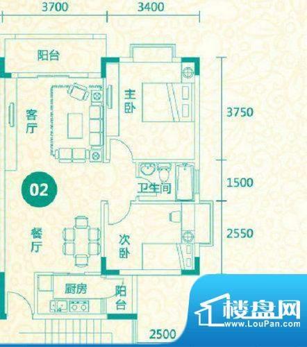 翡翠城13栋02户型 2面积:81.71平米