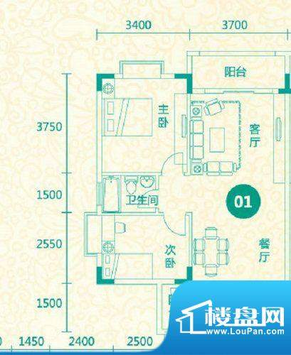 翡翠城13栋01户型 2面积:82.40平米