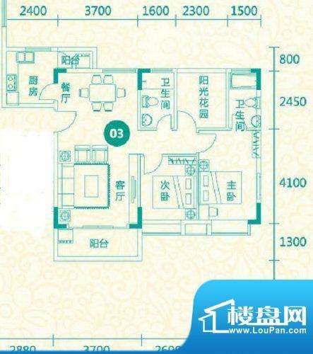 翡翠城12栋03户型 3面积:91.20平米