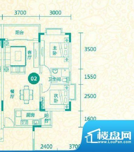 翡翠城12栋02户型 2面积:80.84平米
