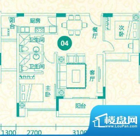 翡翠城12栋04户型 2面积:82.56平米