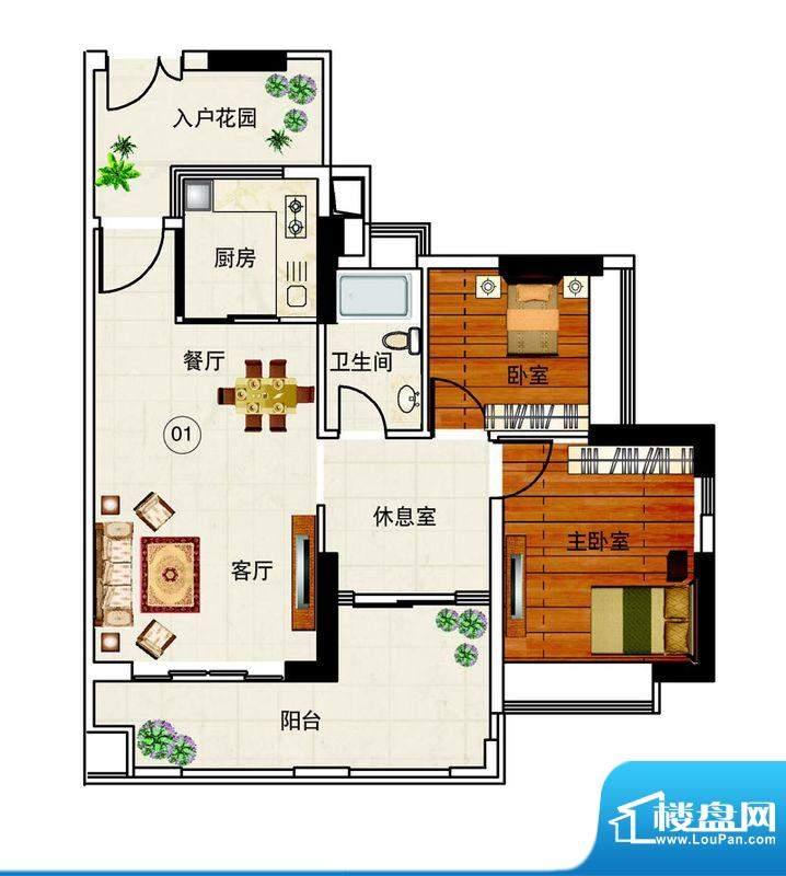 岭南湾畔C3栋01单元面积:91.65平米