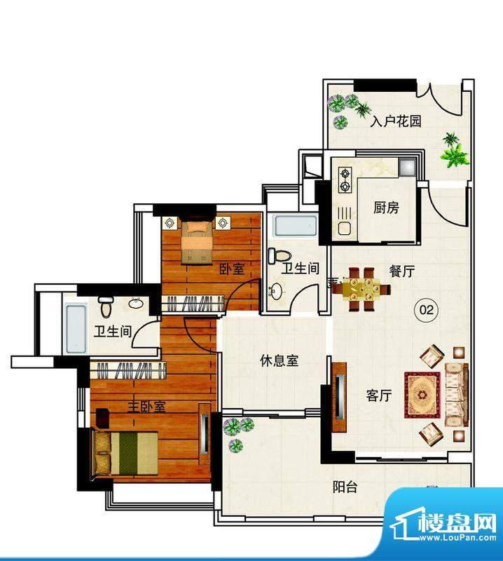 岭南湾畔C3栋02单元面积:102.38平米