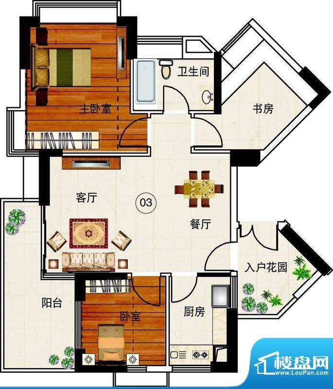 岭南湾畔C3栋03单元面积:96.53平米