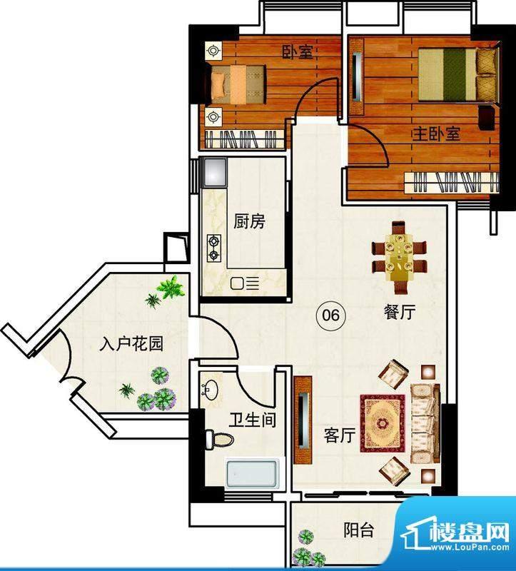 岭南湾畔C3栋06单元面积:81.83平米