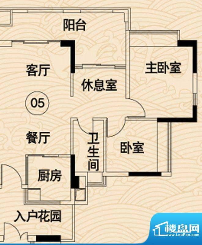 岭南湾畔C3栋05户型面积:91.65平米
