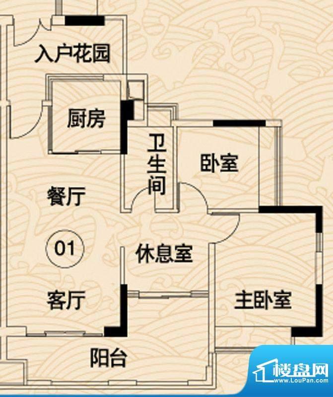 岭南湾畔C3栋01户型面积:91.65平米