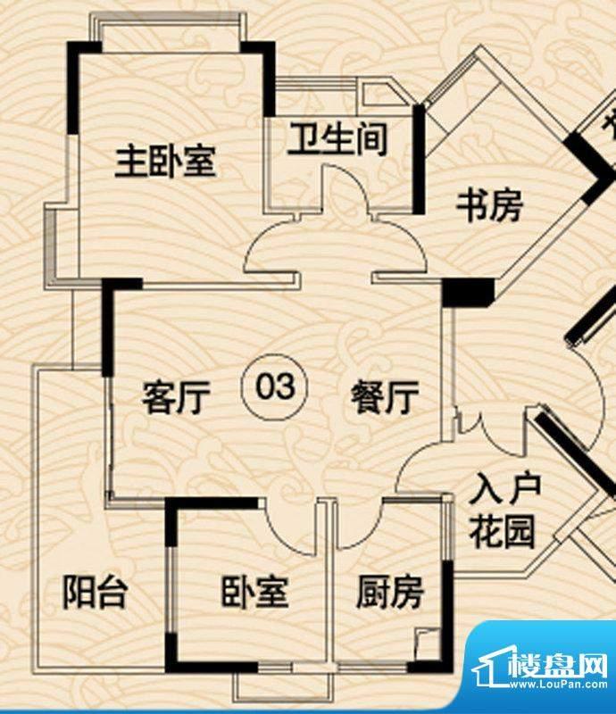 岭南湾畔C3栋03户型面积:96.53平米
