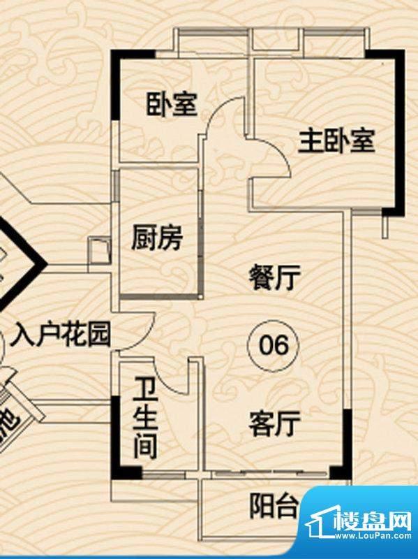 岭南湾畔C3栋06户型面积:81.83平米