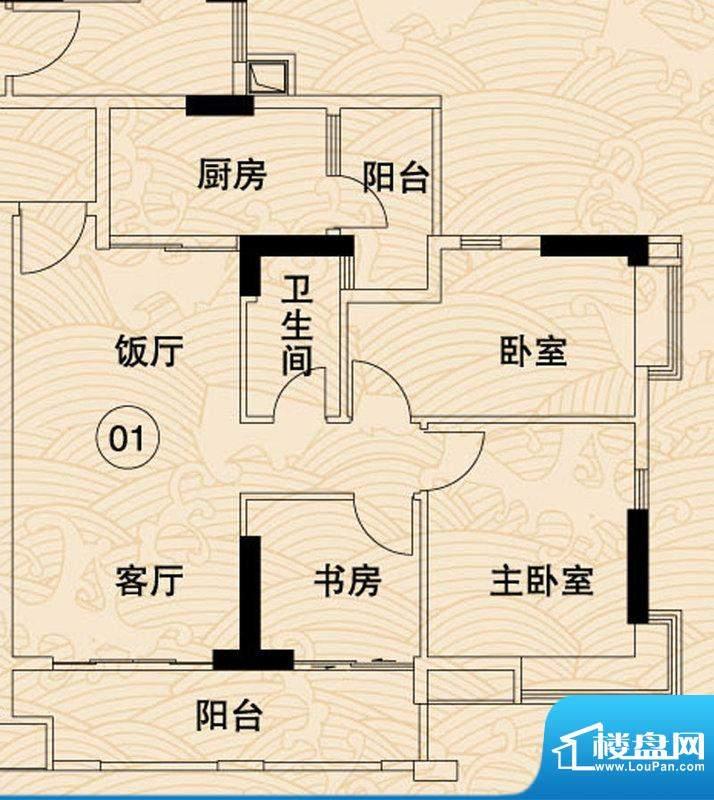 岭南湾畔C4栋01户型面积:98.07平米
