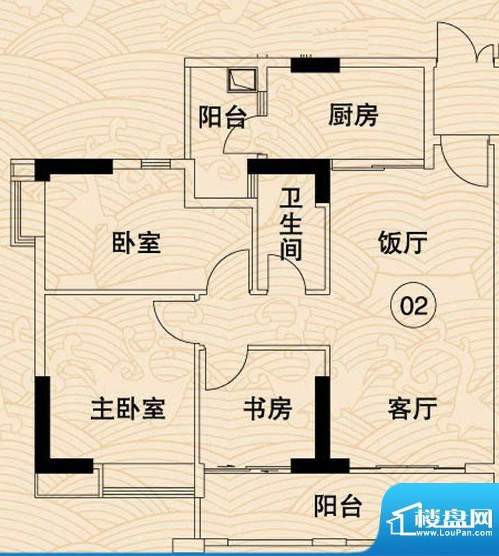 岭南湾畔C4栋02户型面积:97.78平米