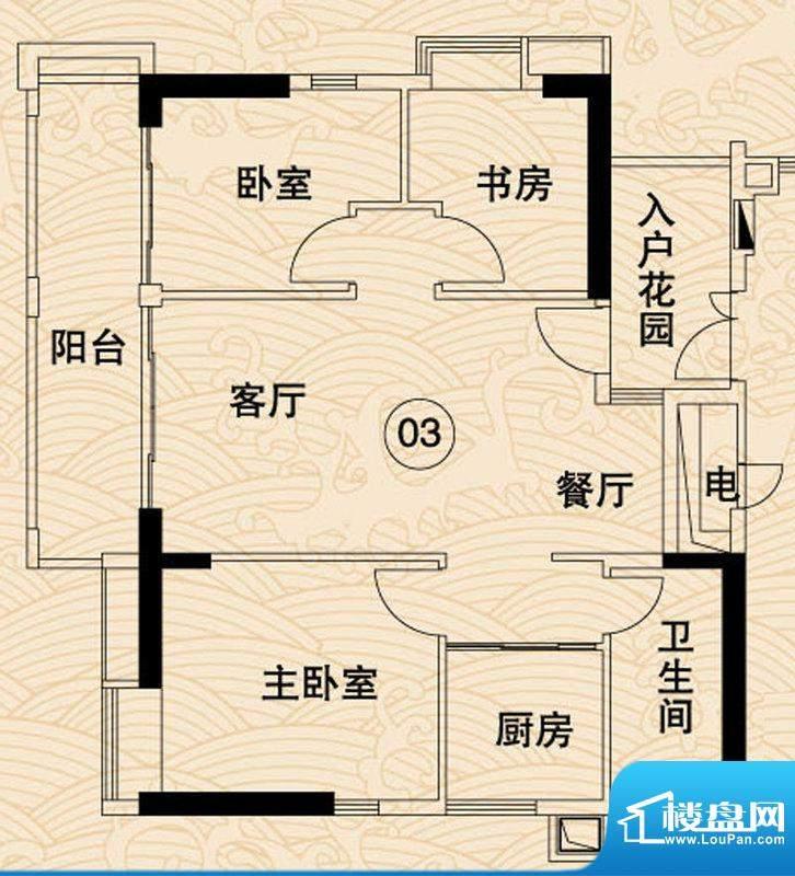 岭南湾畔C4栋03户型面积:99.60平米