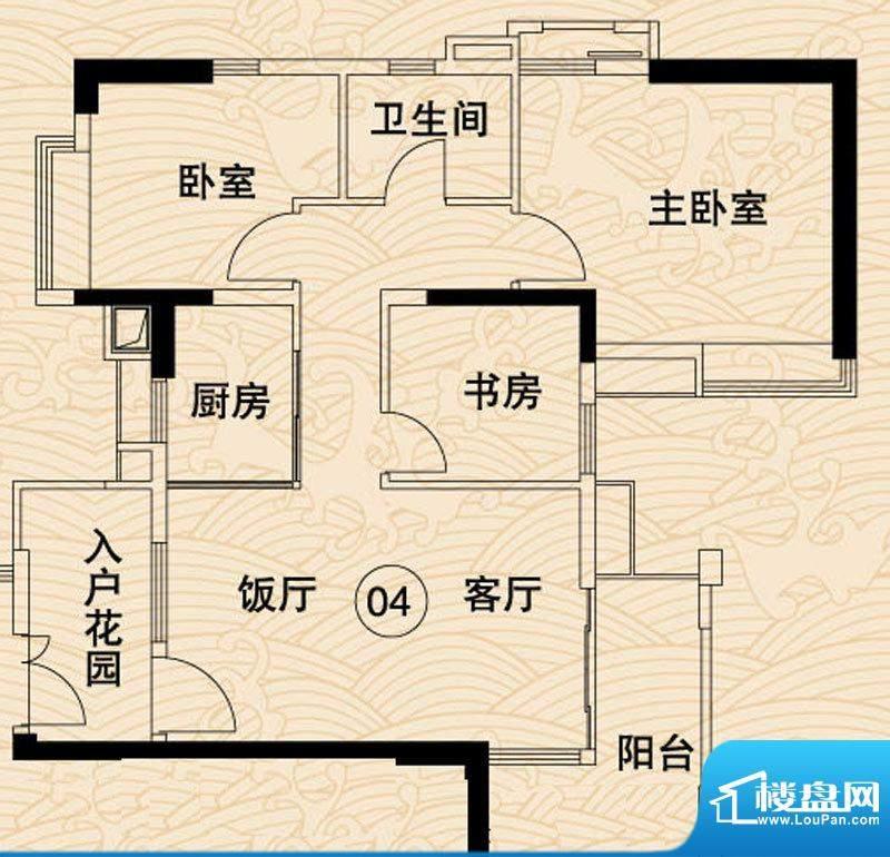 岭南湾畔C4栋04户型面积:96.61平米