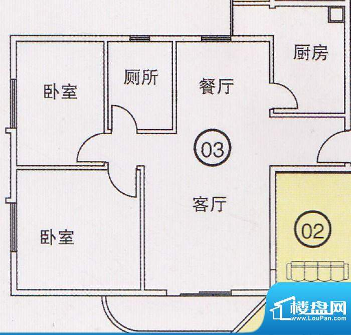 蝴蝶谷A栋03单位 2室面积:0.00平米