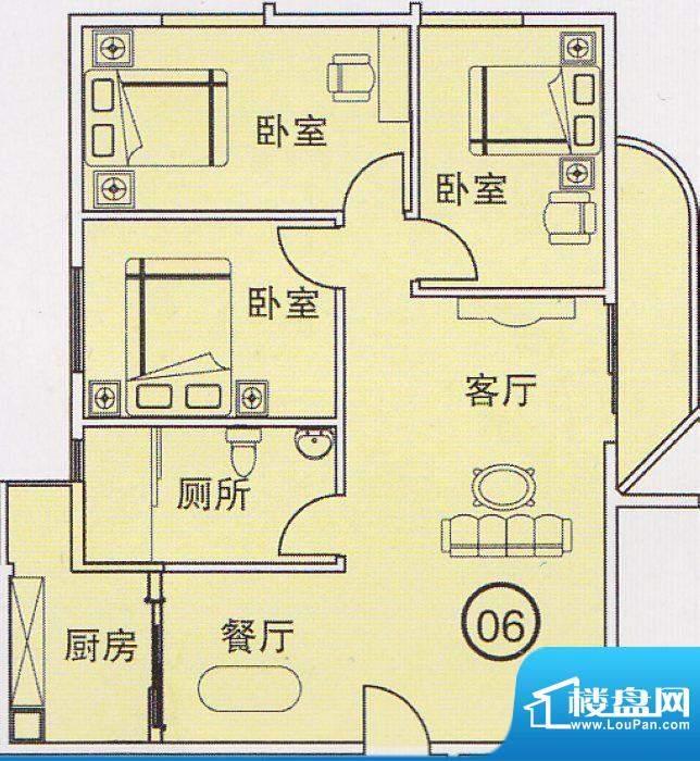 蝴蝶谷A栋06单位 3室面积:0.00平米