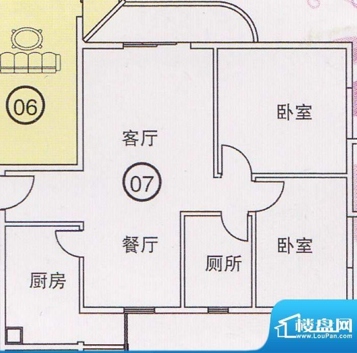 蝴蝶谷A栋07单位 2室面积:0.00平米
