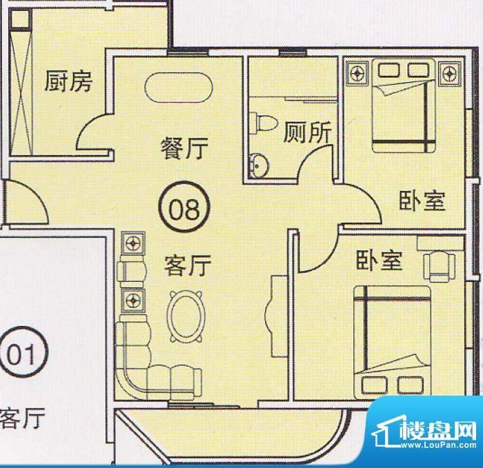 蝴蝶谷A栋08单位 2室面积:0.00平米