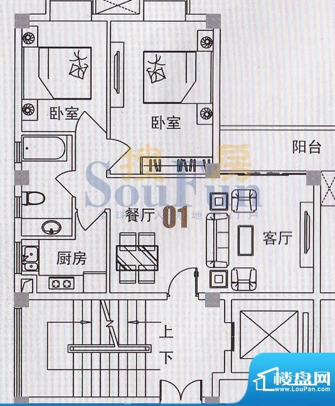 美景国际公寓俊景阁面积:77.16平米