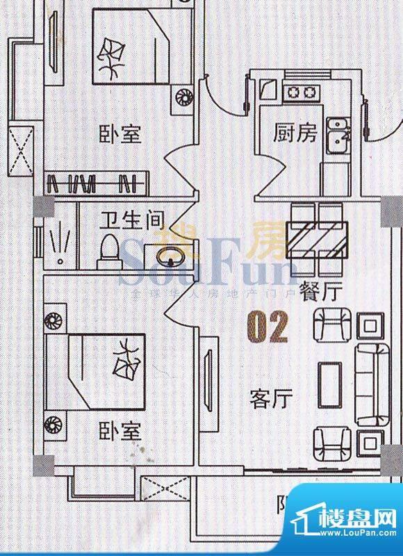 美景国际公寓俊景阁面积:77.85平米