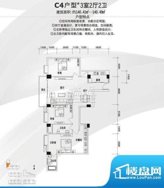 美景国际公寓C4户型面积:120.00平米