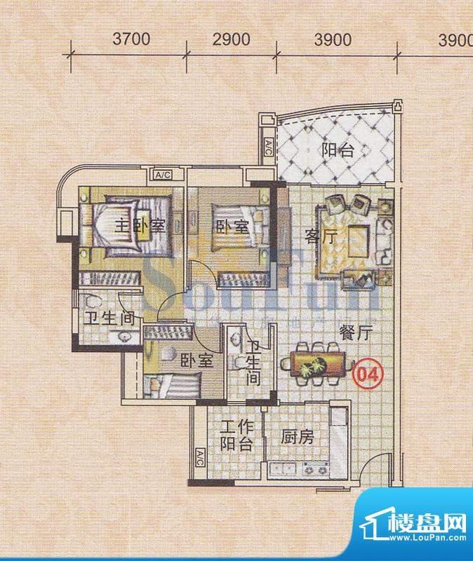 美林轩逸时光A8号楼面积:95.83平米