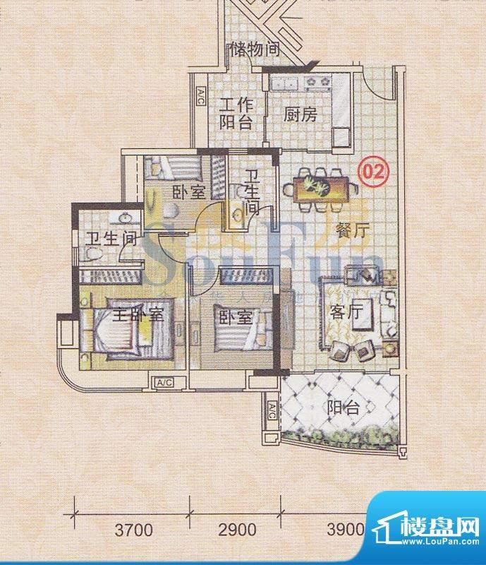 美林轩逸时光A8号楼面积:99.79平米